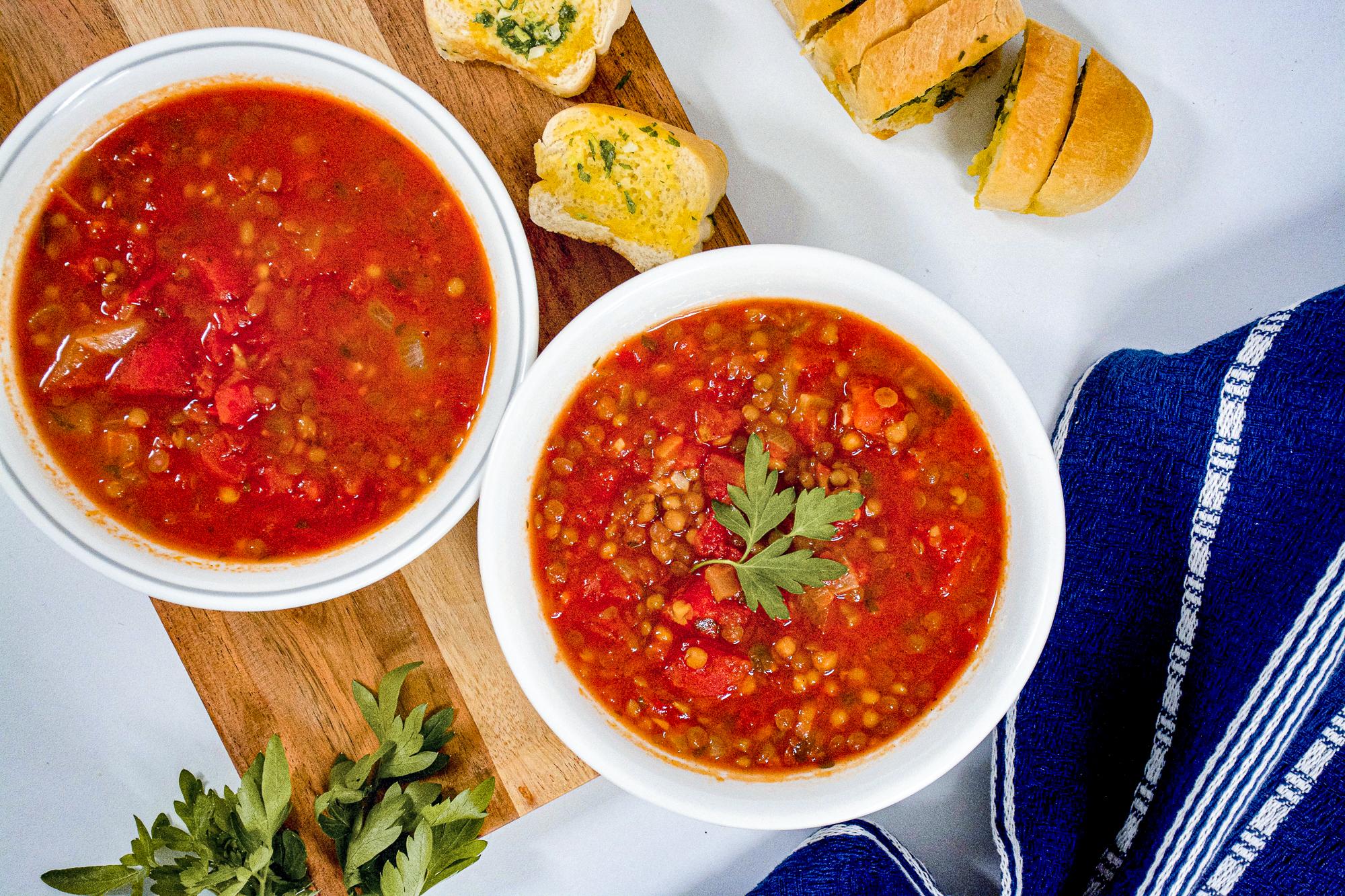 Tomato & Lentil Soup with Garlic Bread