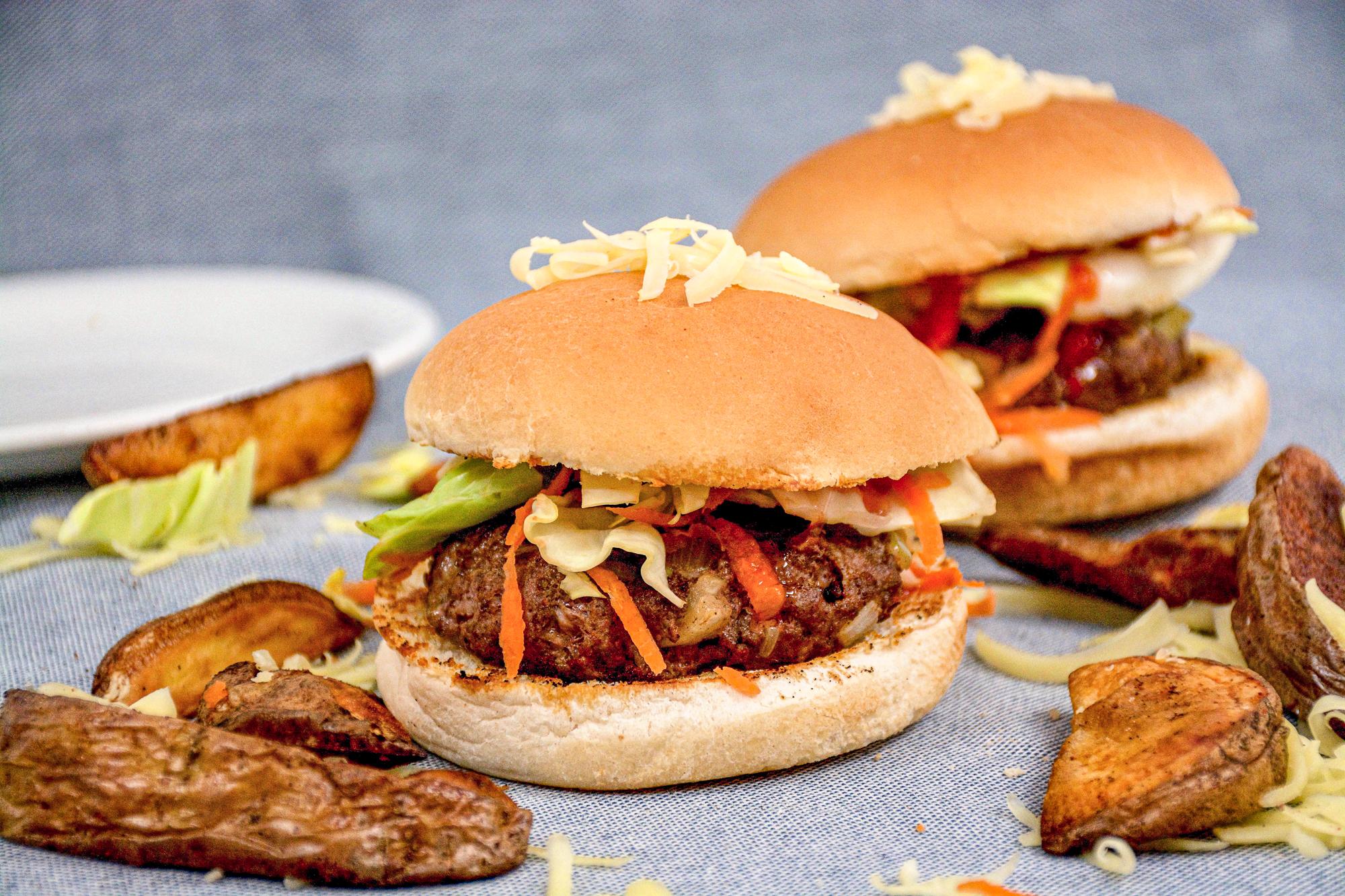 Burgers with Seasoned Wedges