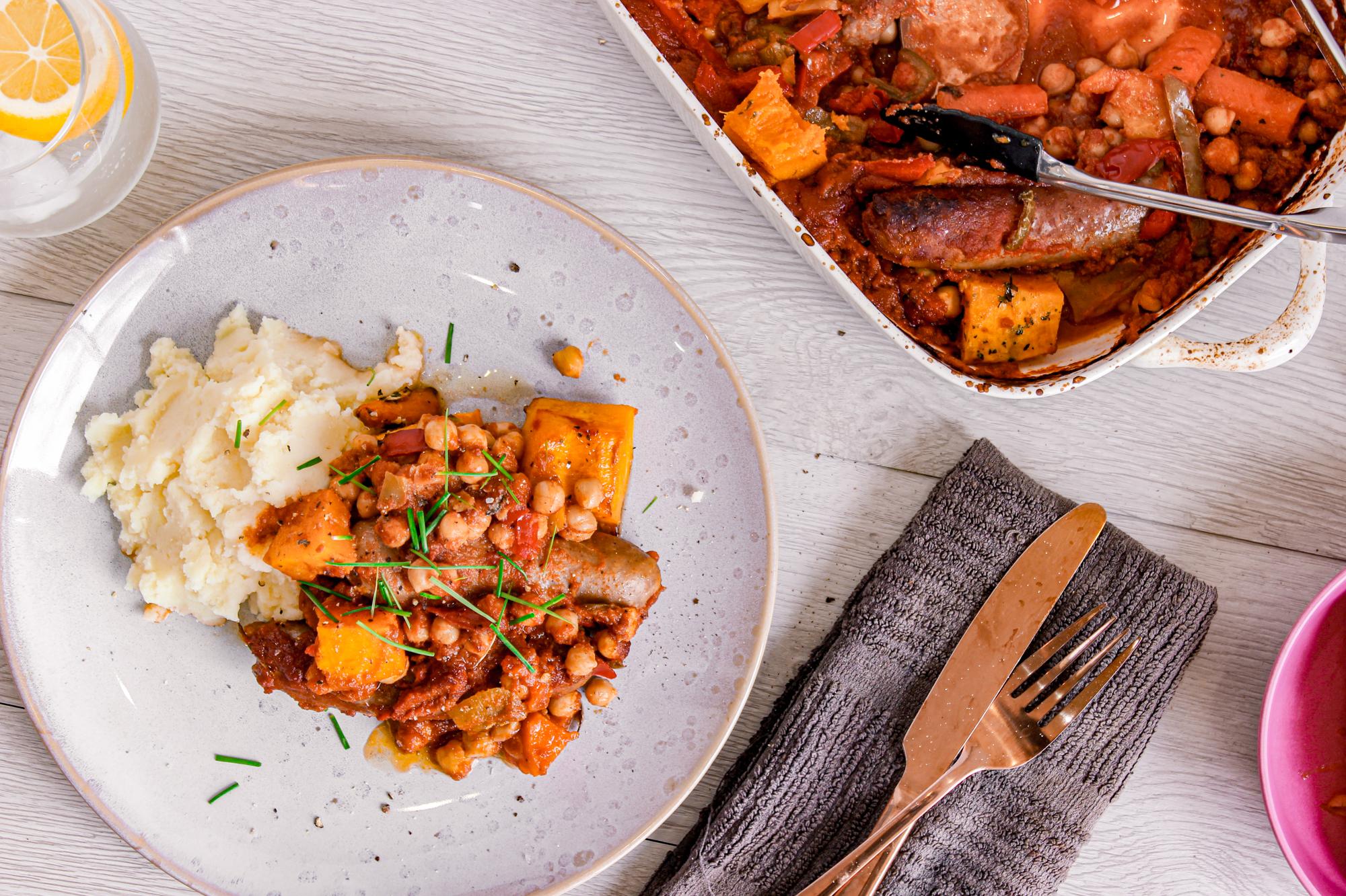 Mediterranean sausage bake