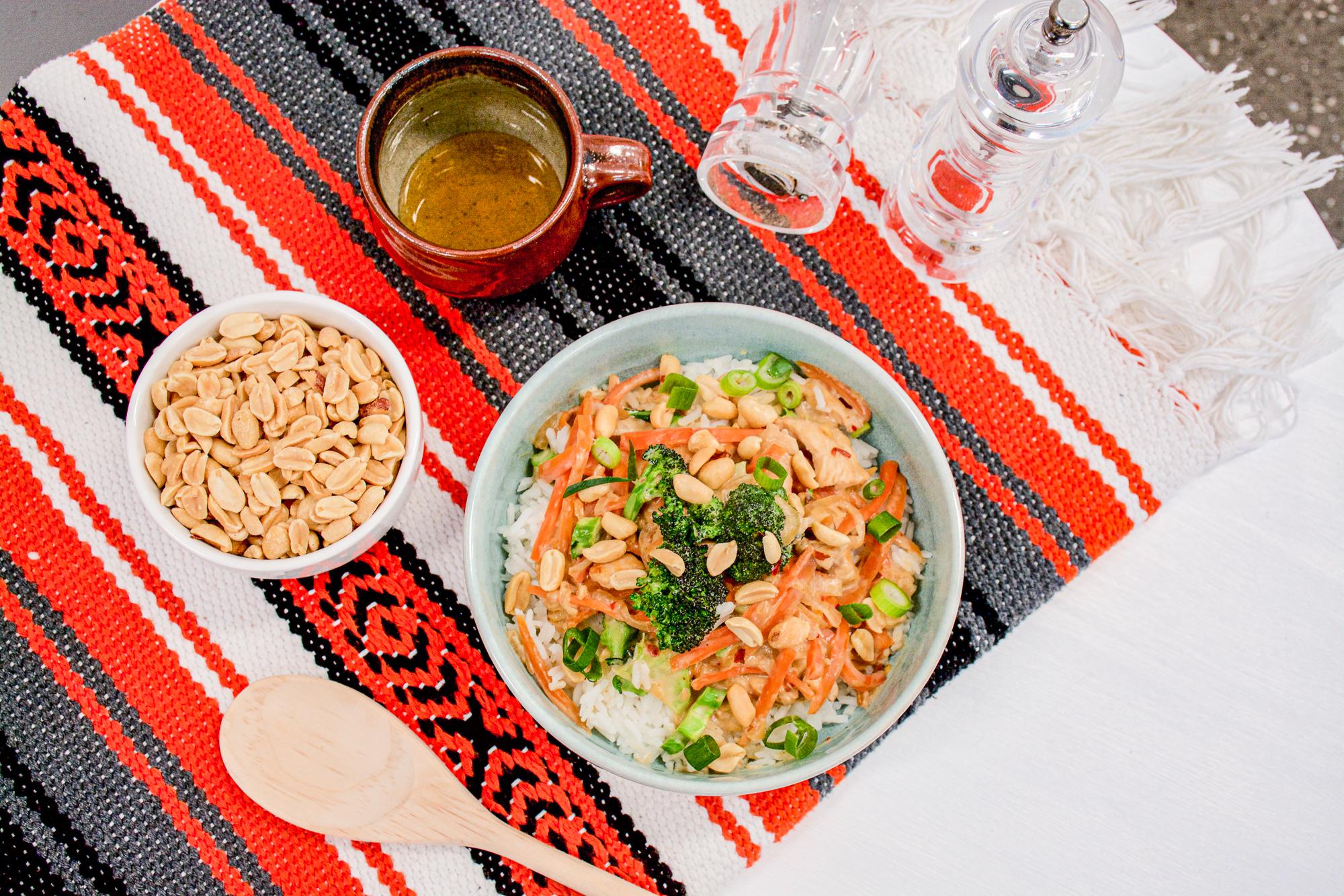 Satay Chicken on Rice