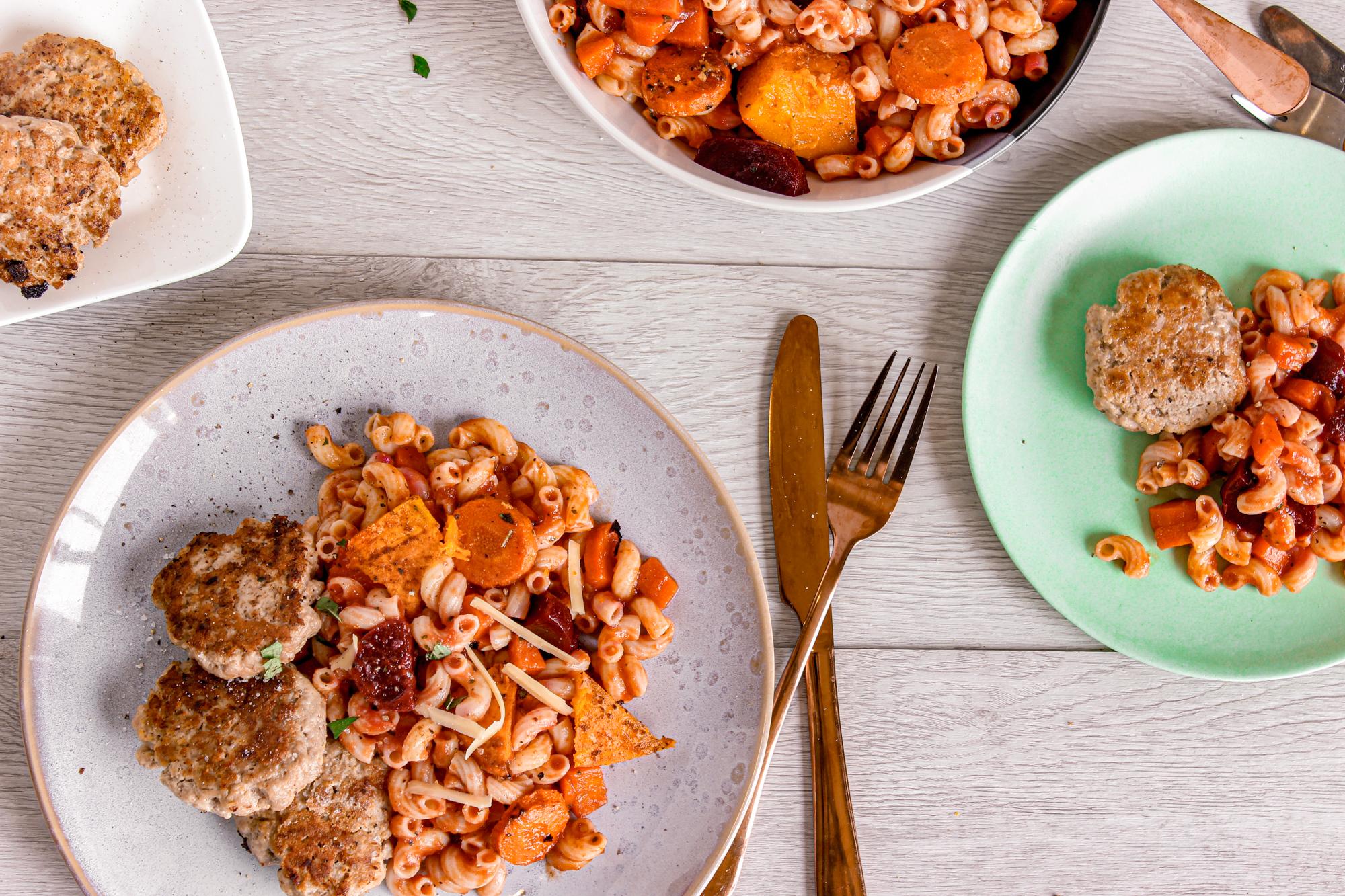 Pork rissoles and veg pasta bake